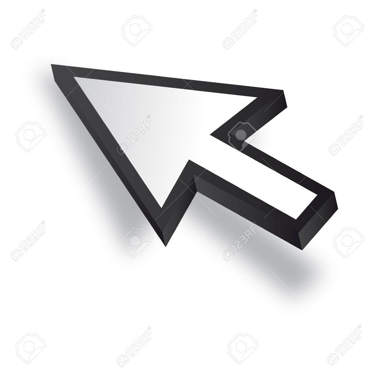White 3D Vector Mouse cursor Stock Vector - 12508190
