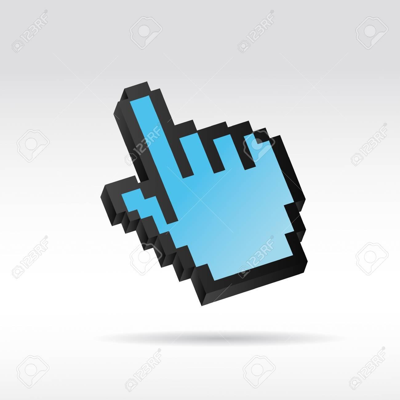 blue Pixel 3D Vector Mouse cursor hand Stock Vector - 12508183