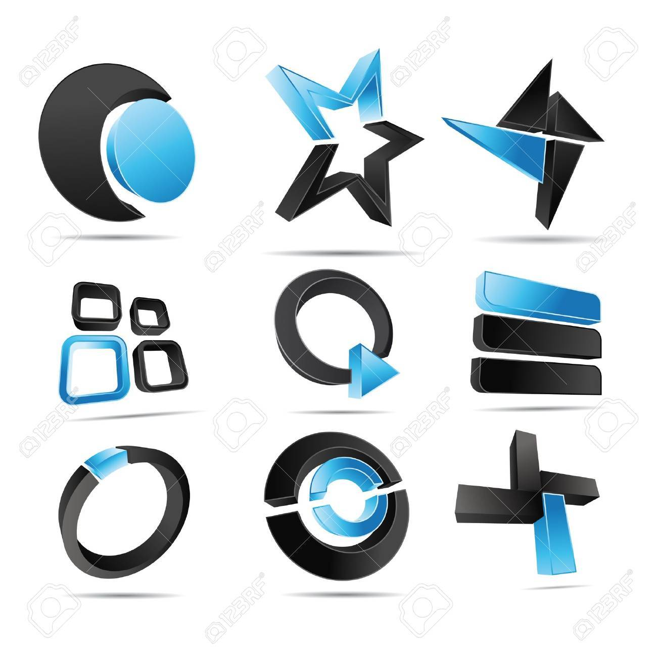 3D illustration Logo Forms blue Stock Vector - 12394374