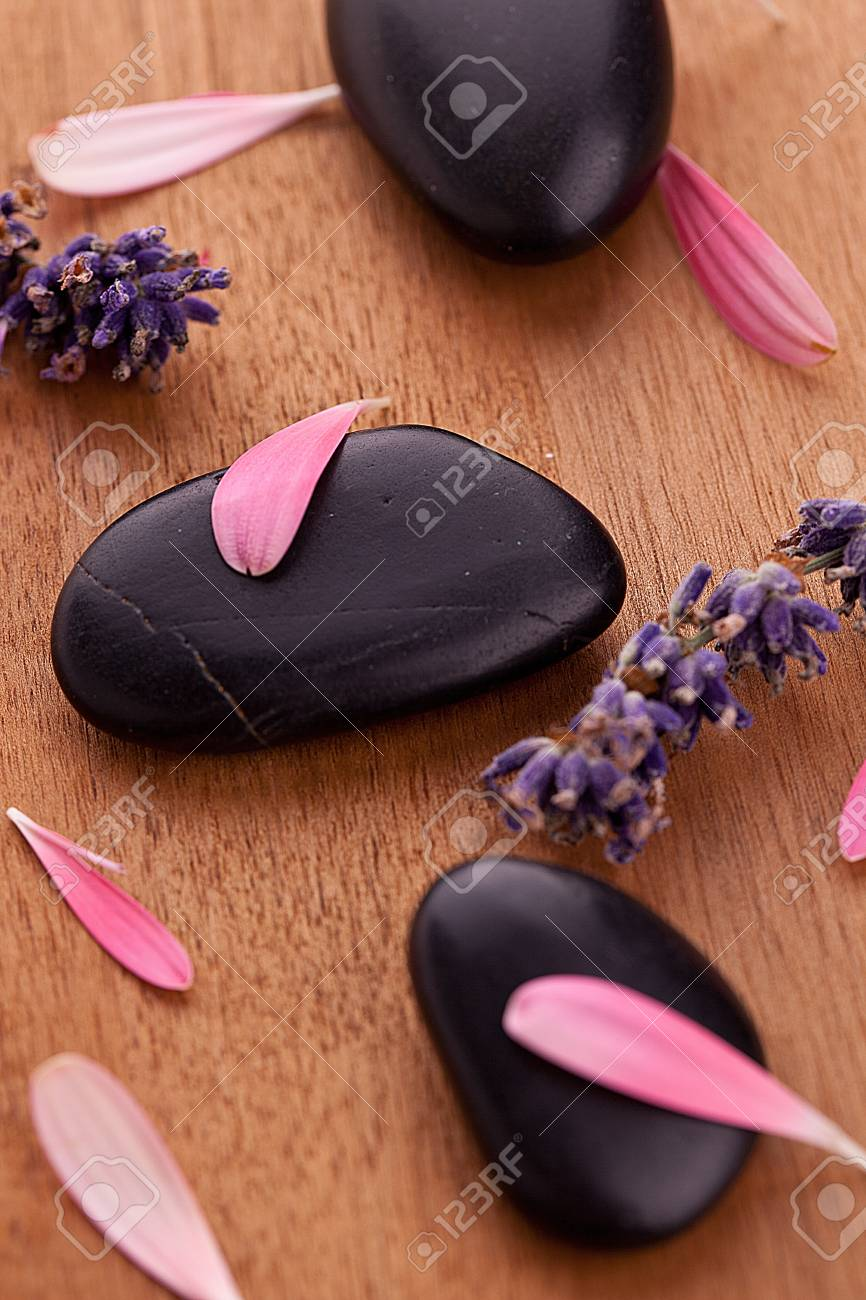 black stones with leaves and lavender Stock Photo - 12508351