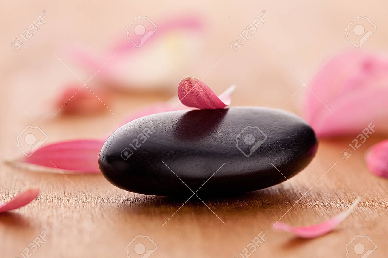 black stones with leaves Stock Photo - 12508348