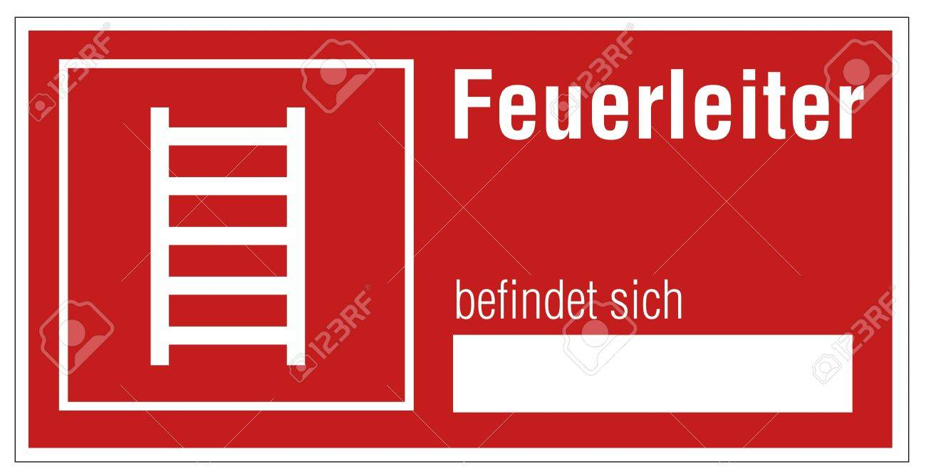 Fire safety sign ladder warning sign Stock Vector - 14337920