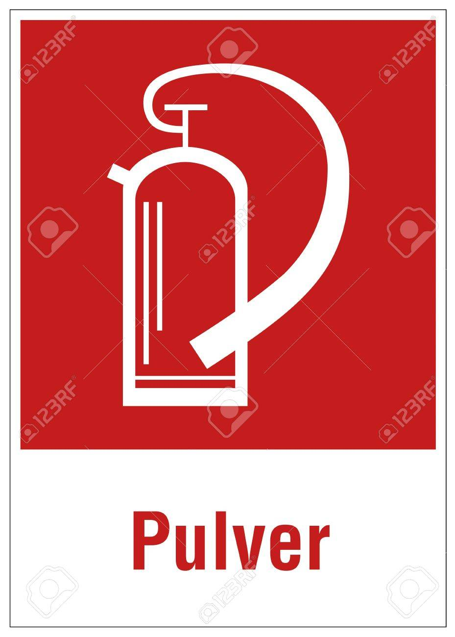 Fire safety sign fire extinguisher warning sign powder Stock Vector - 14337946