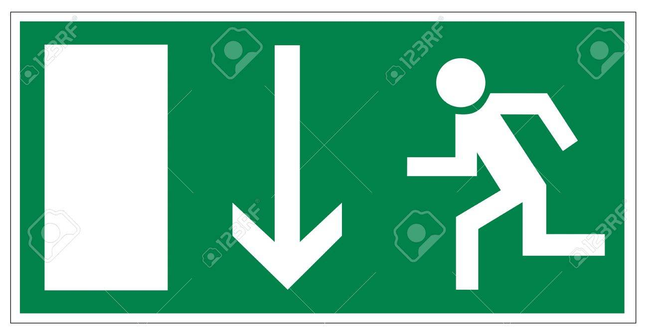Rescue signs icon exit emergency arrow flush away Stock Vector - 14376946