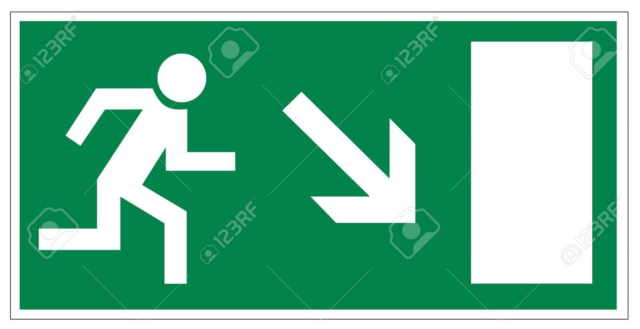 Rescue signs icon exit emergency arrow flush away Stock Vector - 14376930
