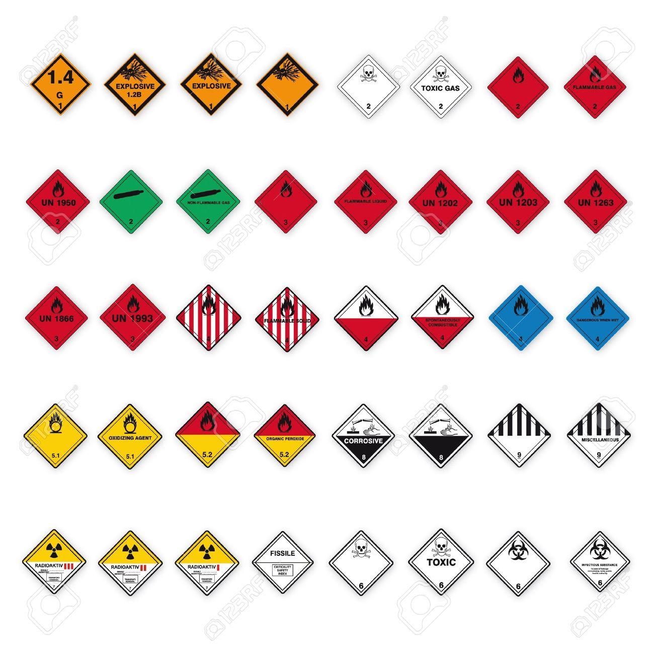 Hazardous substances signs icon flammable skull radioactive hazard corrosive set - 14380112