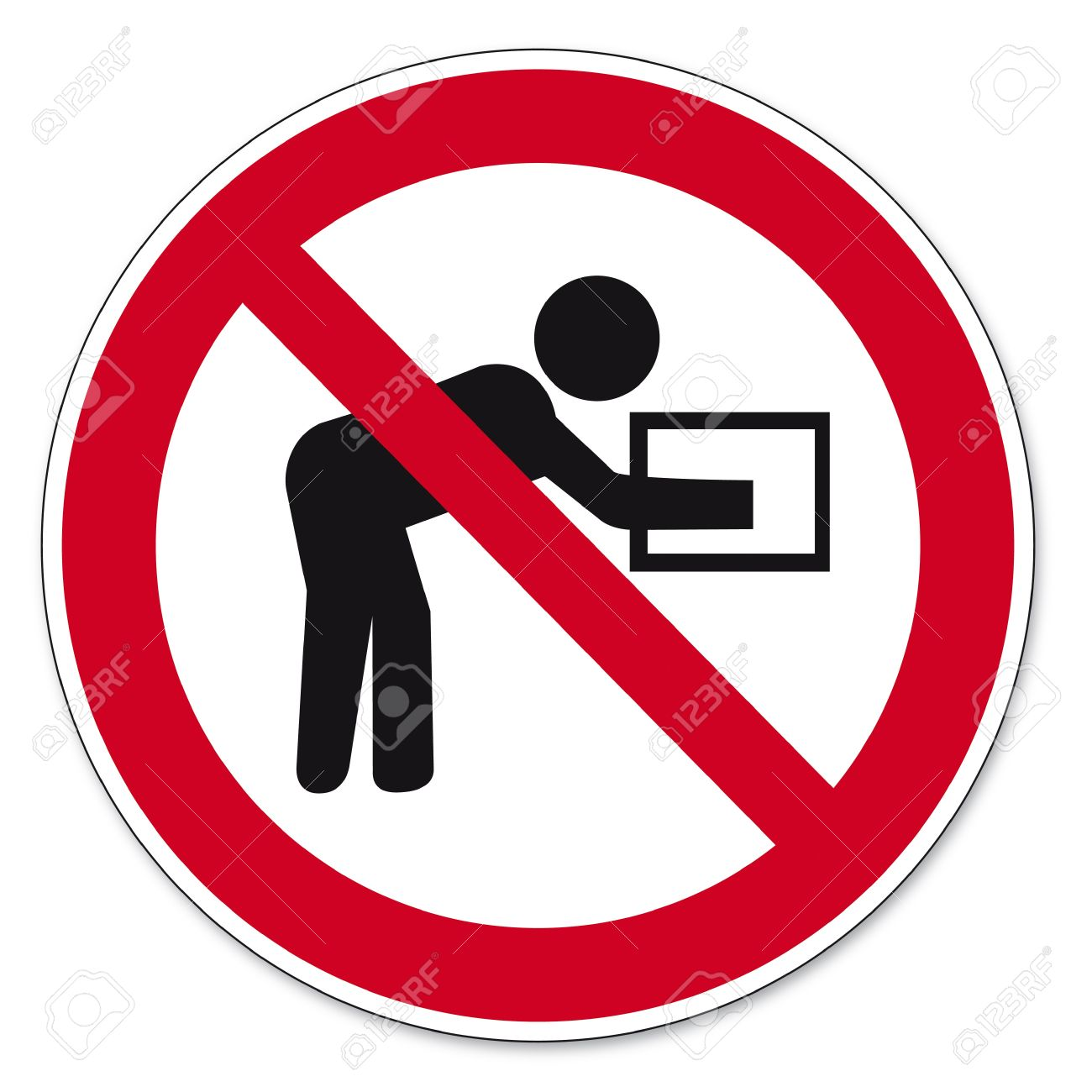Prohibition signs BGV icon pictogram Performing such lifting operations prohibited Stock Vector - 14516816