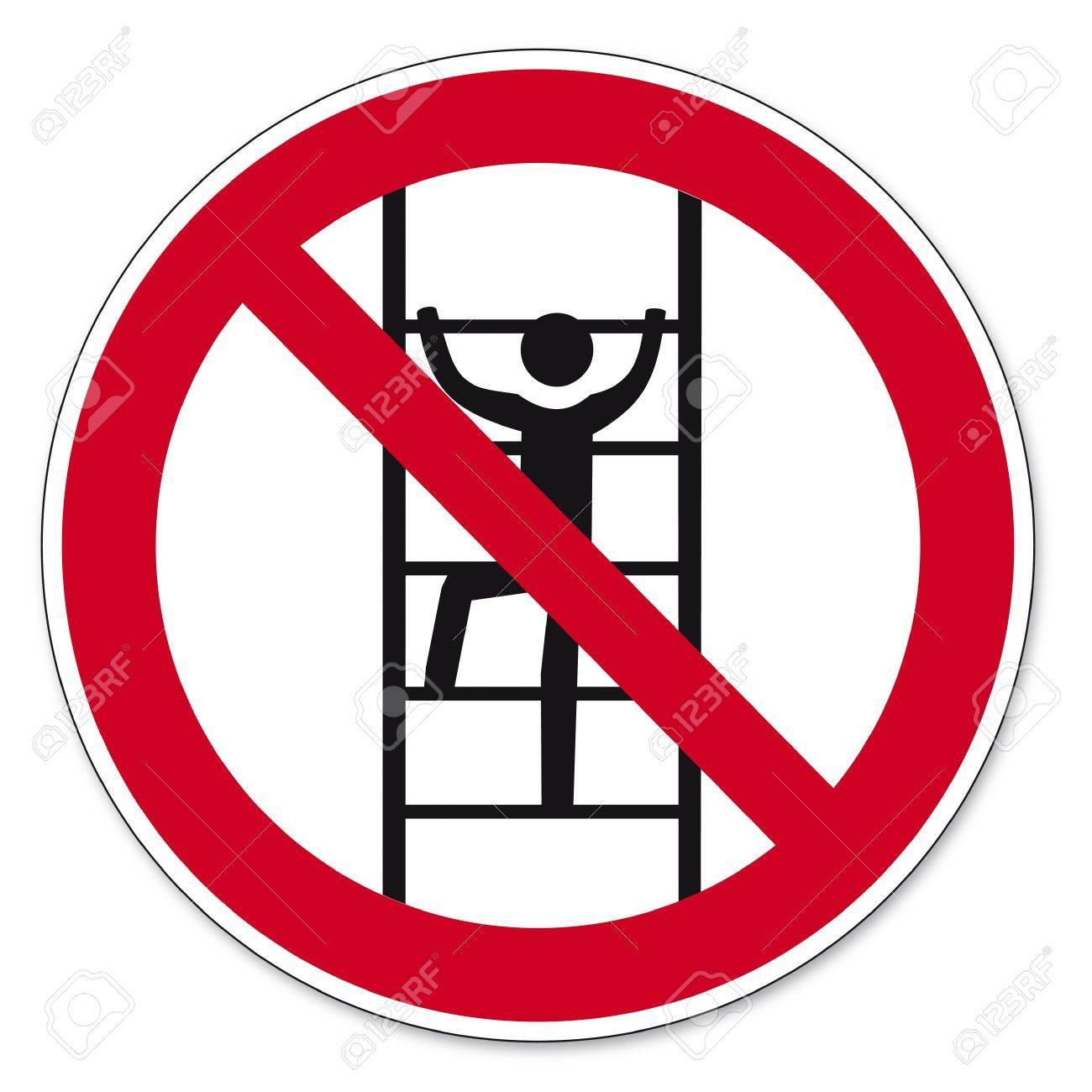 Prohibition signs BGV icon pictogram Climb for unauthorized Stock Vector - 14516821