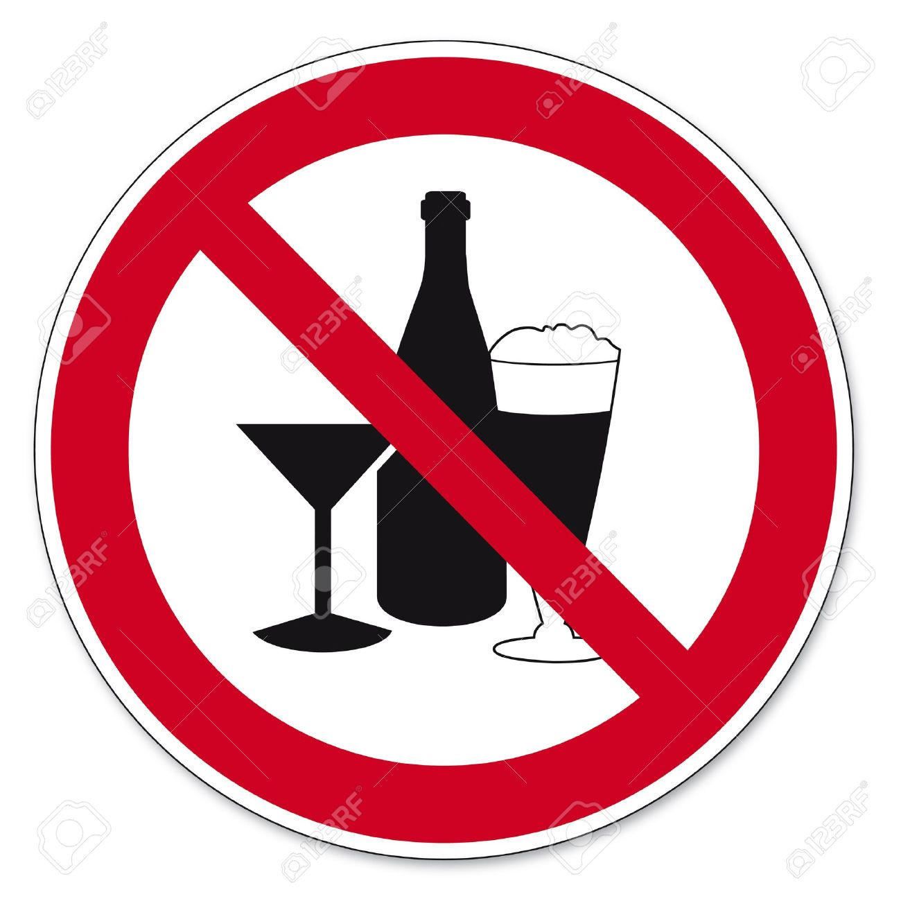 Prohibition signs BGV icon pictogram Consumption of alcohol prohibited Stock Vector - 14513019