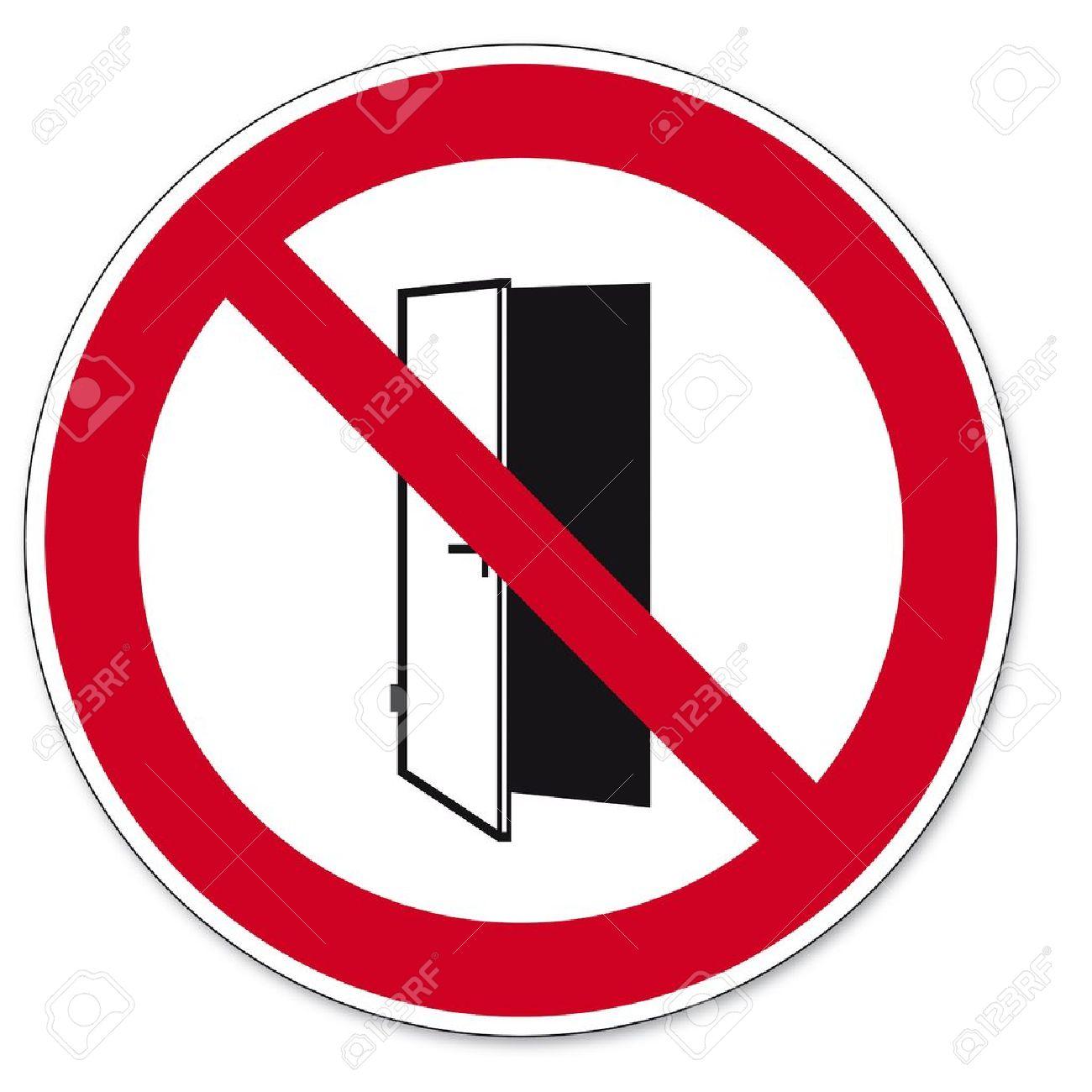 Prohibition signs BGV icon pictogram Doors do not close door open - 14492642