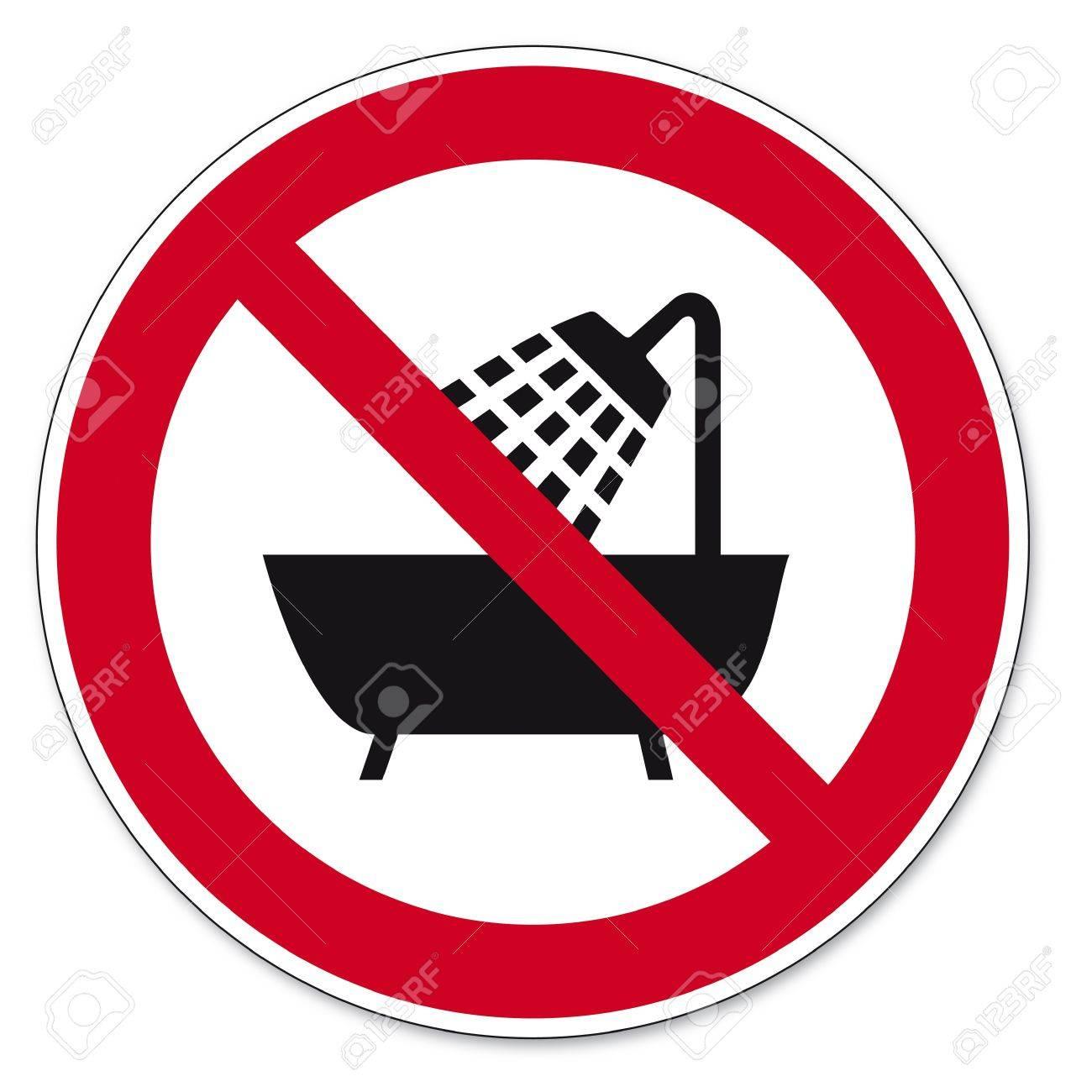 Prohibition signs BGV icon pictogram Device use in the bathtub Stock Vector - 14492210