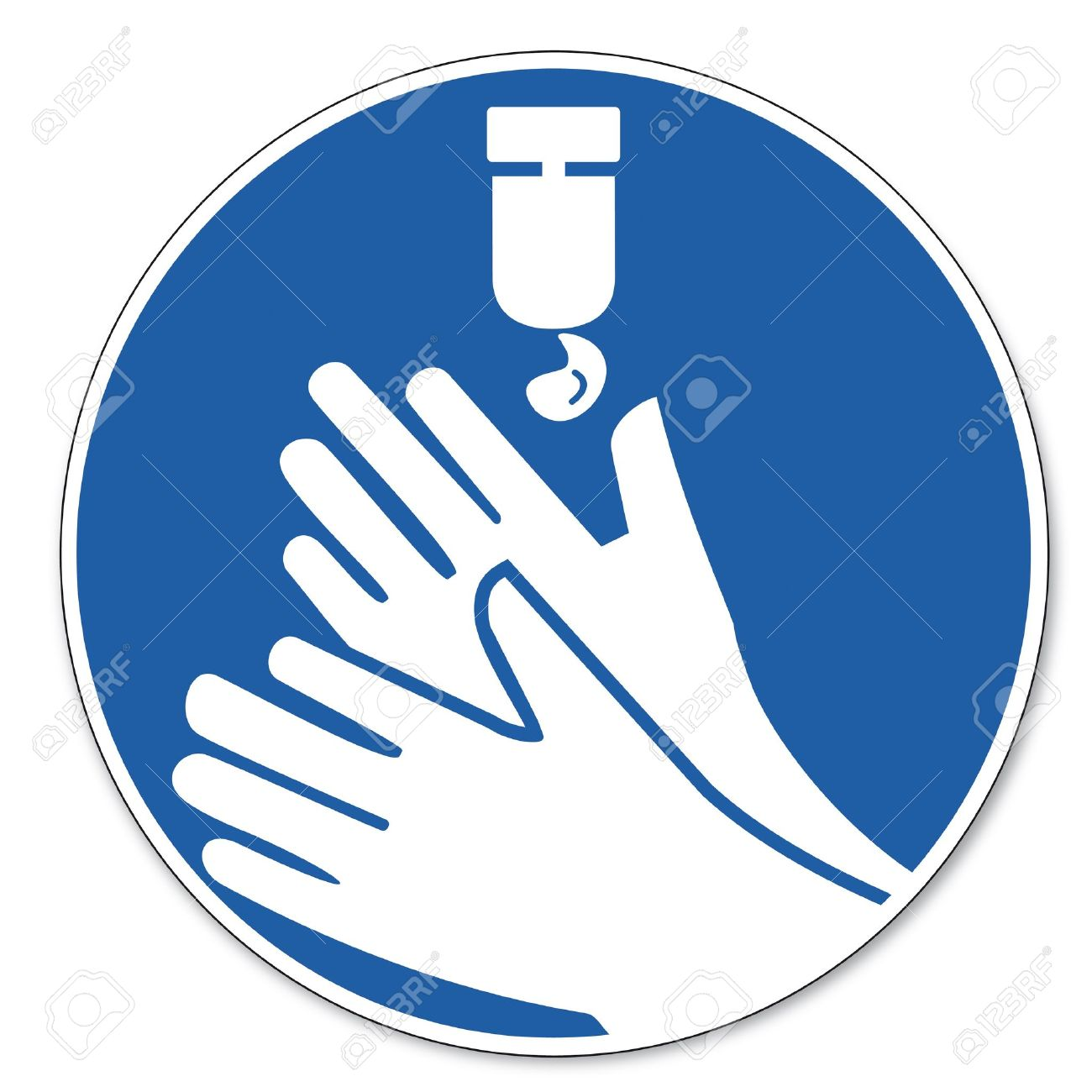 Commanded sign safety sign pictogram occupational safety sign Disinfect your hands do not forget Stock Vector - 14650405