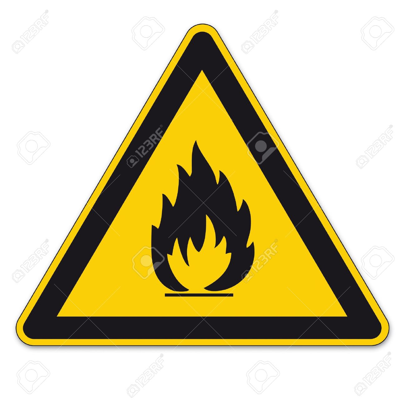 Safety signs warning BGV A8 triangle sign vector pictogram icon flame fire flammable Stock Vector - 15313167