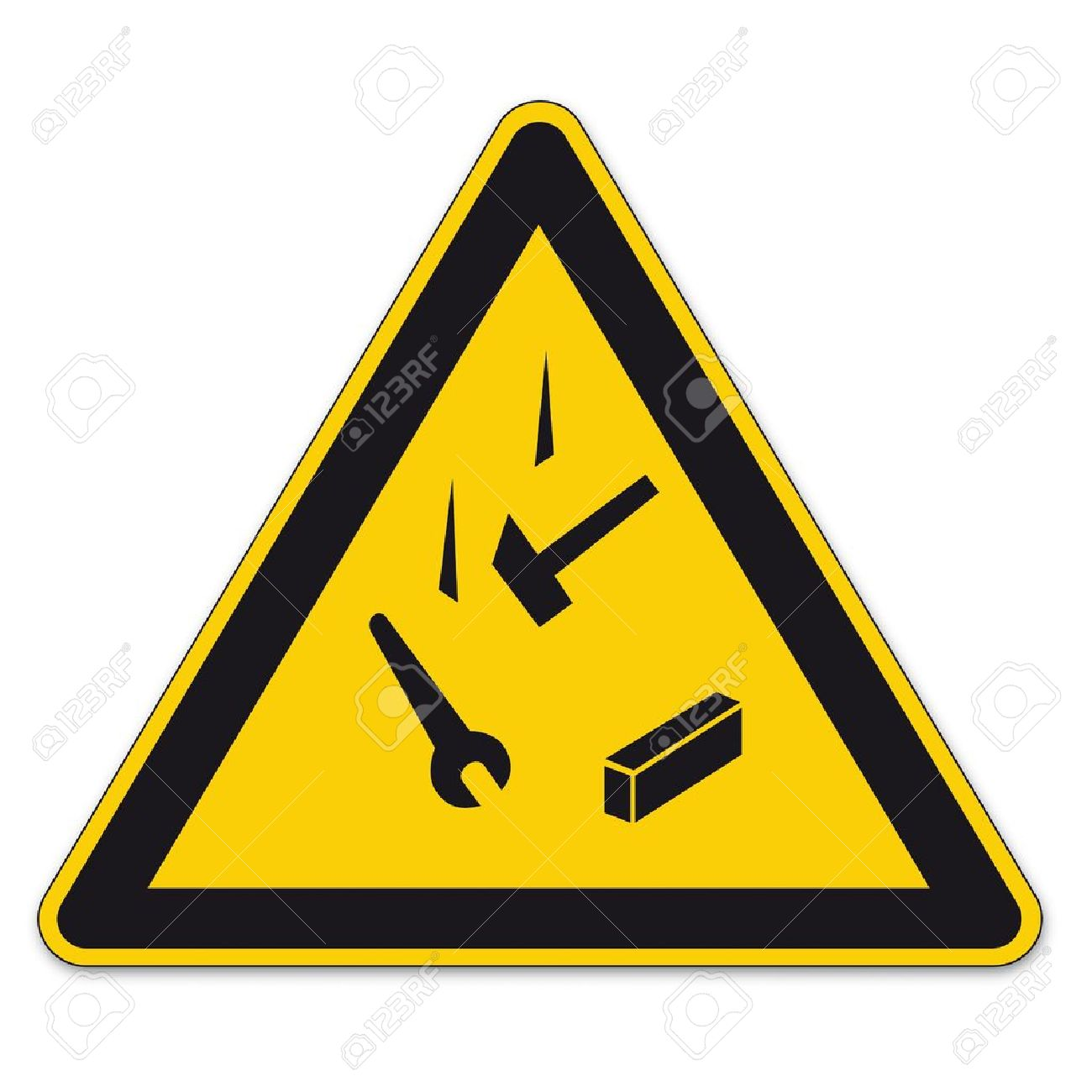 Safety signs warning triangle sign vector pictogram icon BGV falling down against admissions Stock Vector - 15313155