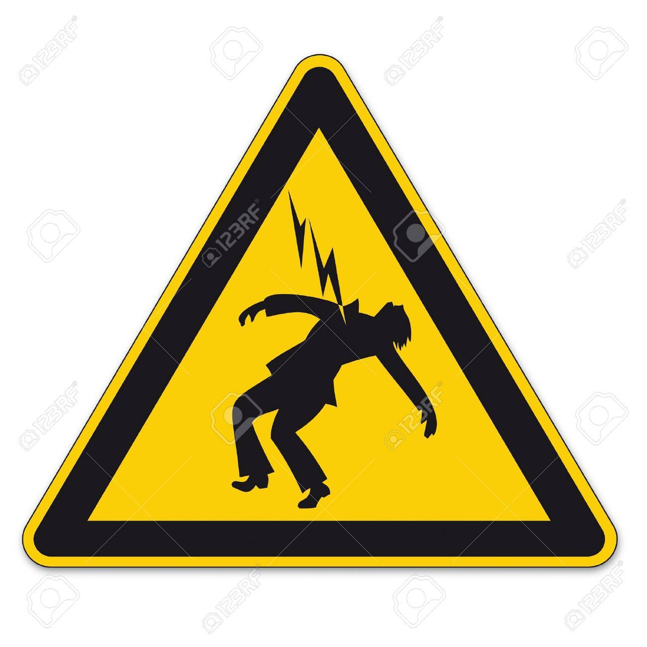 Safety signs warning triangle sign vector pictogram icon Danger high voltage lightning Stock Vector - 15313213