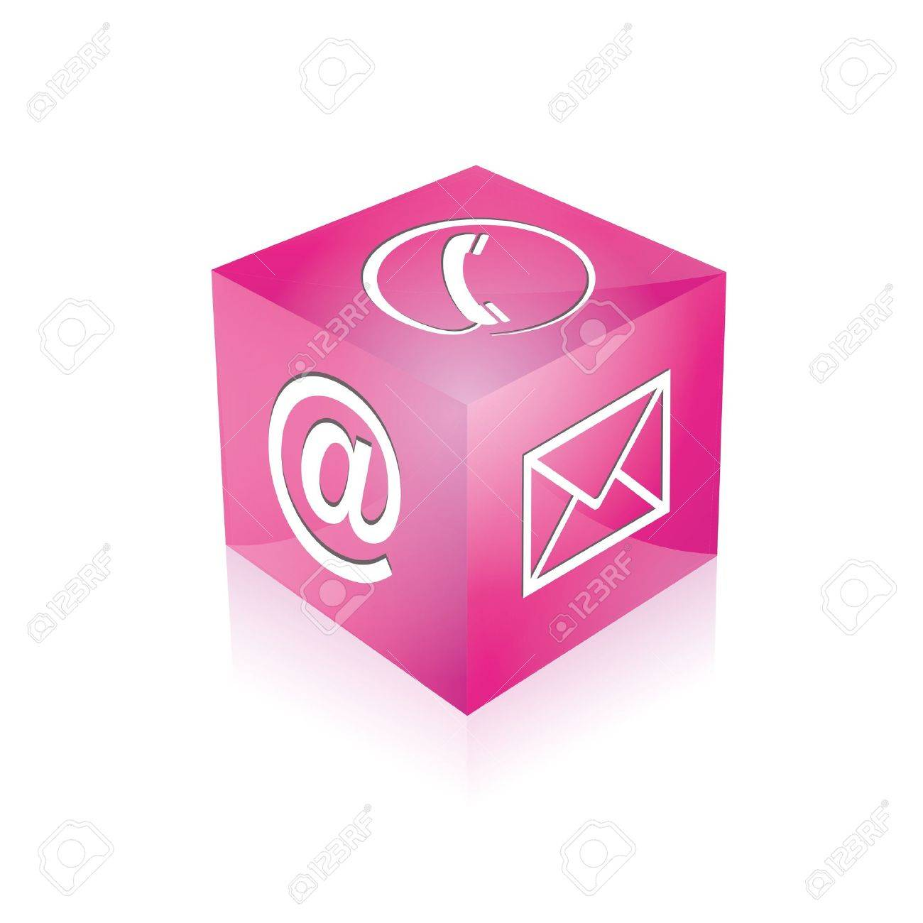 Contact cube phone at email e-mail hotline kontaktfomular callcenter call pictogram sign symbol cube Standard-Bild - 14757902