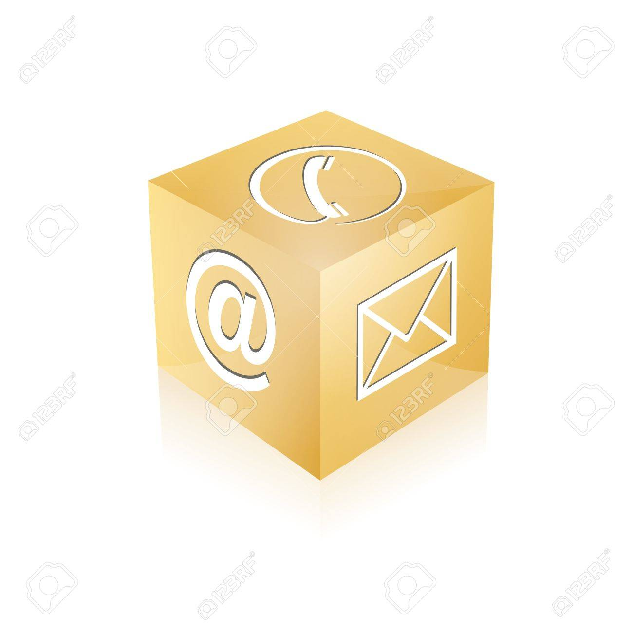 Contact cube phone at email e-mail hotline kontaktfomular callcenter call pictogram sign symbol cube Stock Vector - 14757913