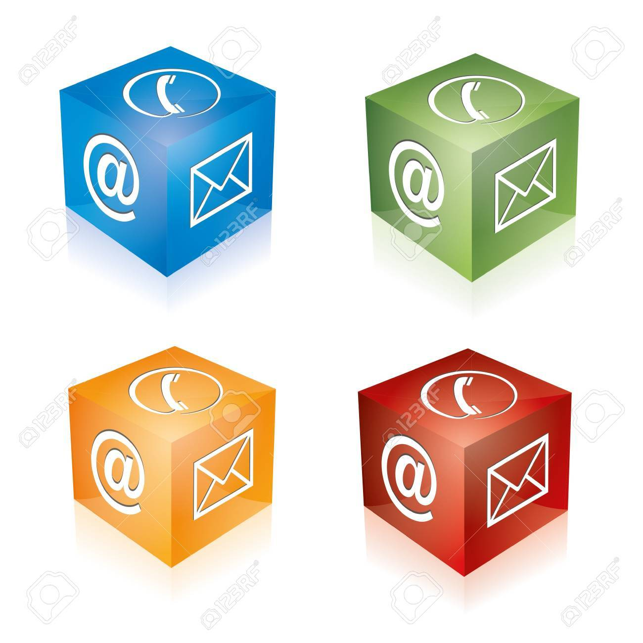 Contact cube phone at email e-mail hotline kontaktfomular callcenter call pictogram sign symbol cube set Stock Vector - 14757935
