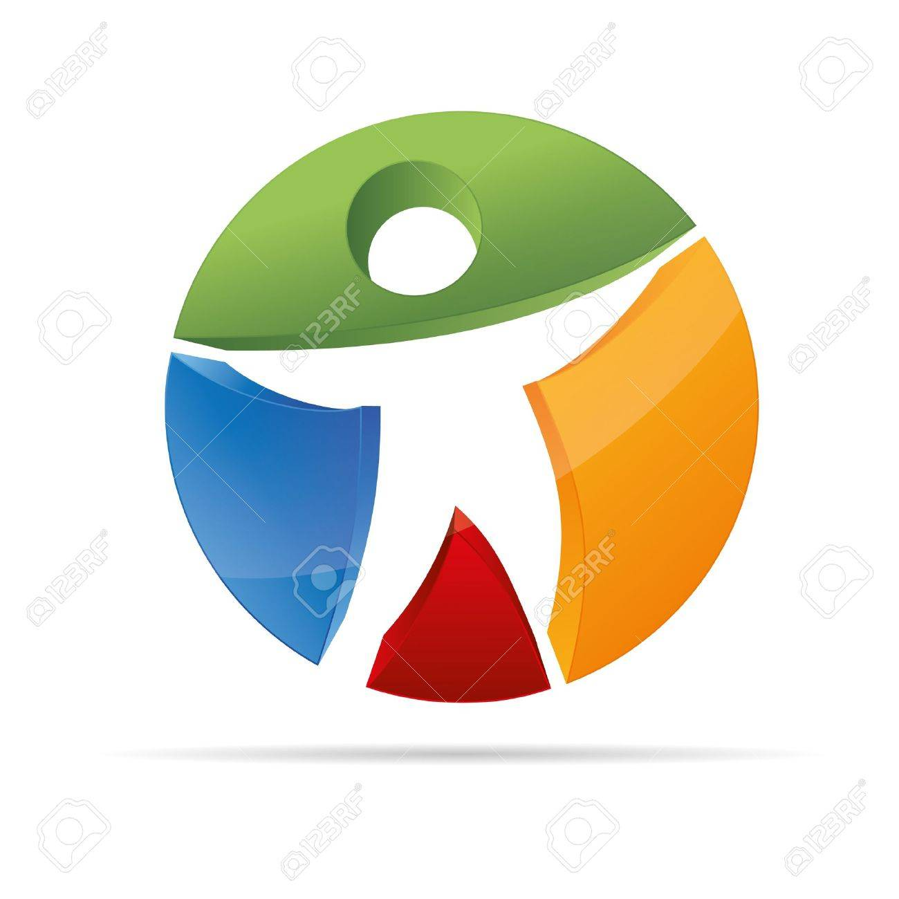 3D abstract figure in a Circle colorful stickman symbol corporate design icon logo trademark Stock Vector - 15362189