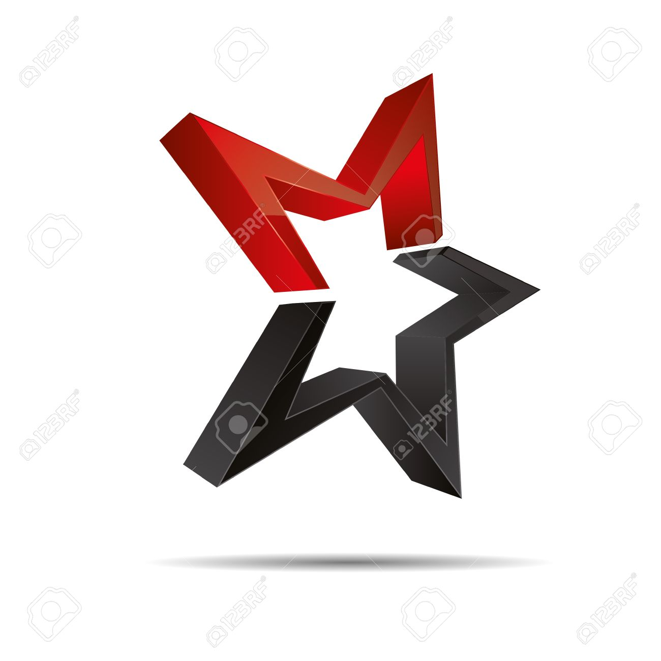 3D abstract red star starfish christmas template design icon logo trademark Stock Vector - 15621659
