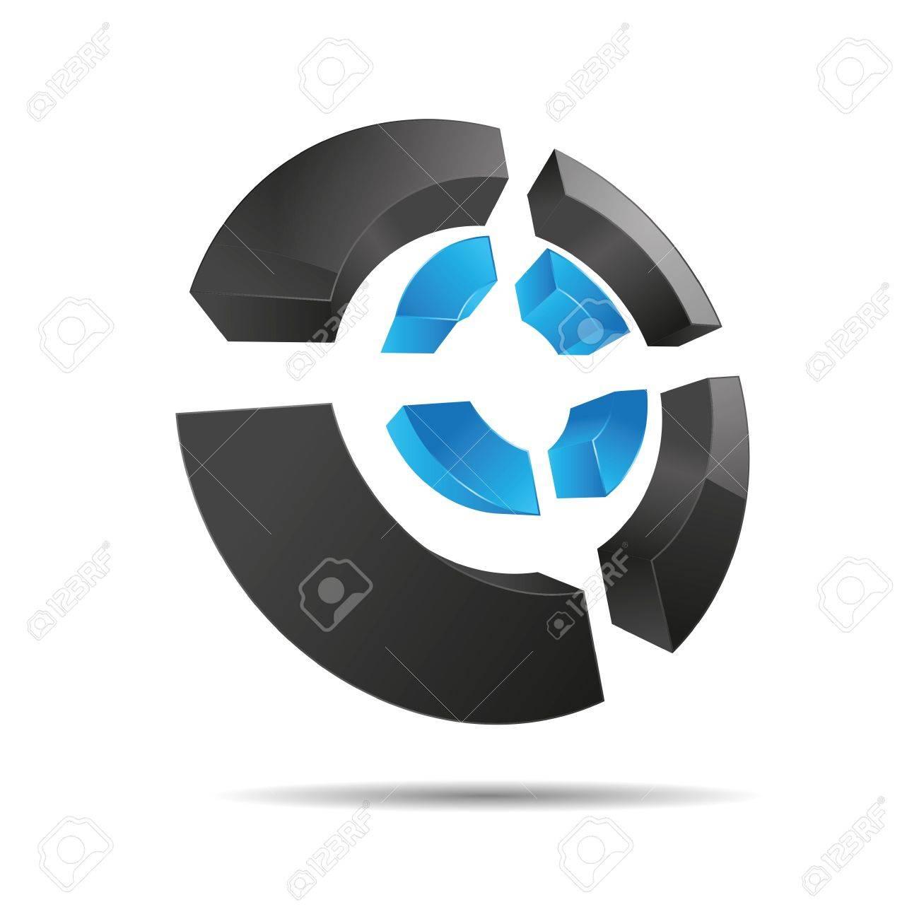 3D abstract blue water sky circular symbol ring corners cross cube corporate design icon logo trademark Stock Vector - 15576147