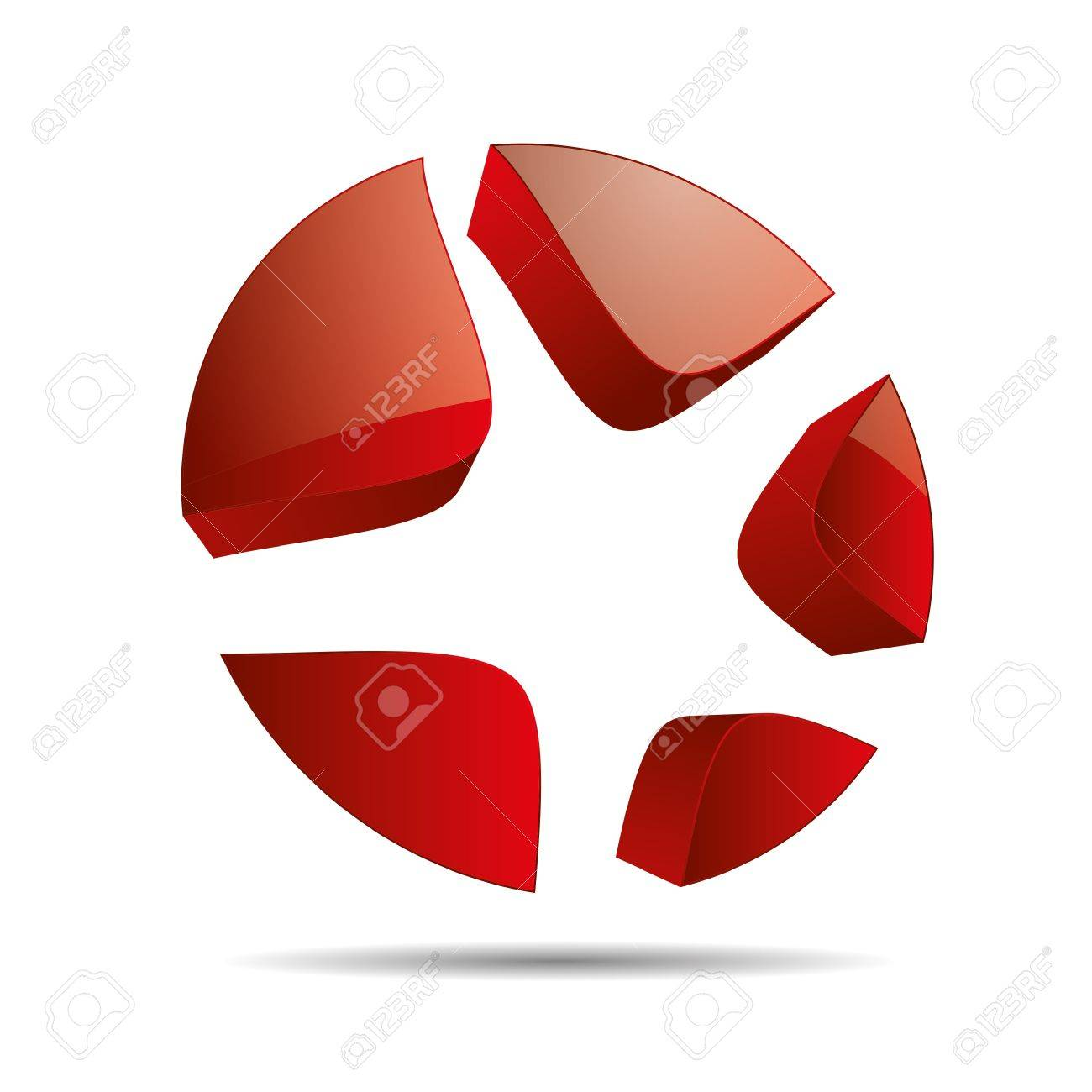 3D abstract red star starfish christmas template design icon logo trademark Stock Vector - 15621667
