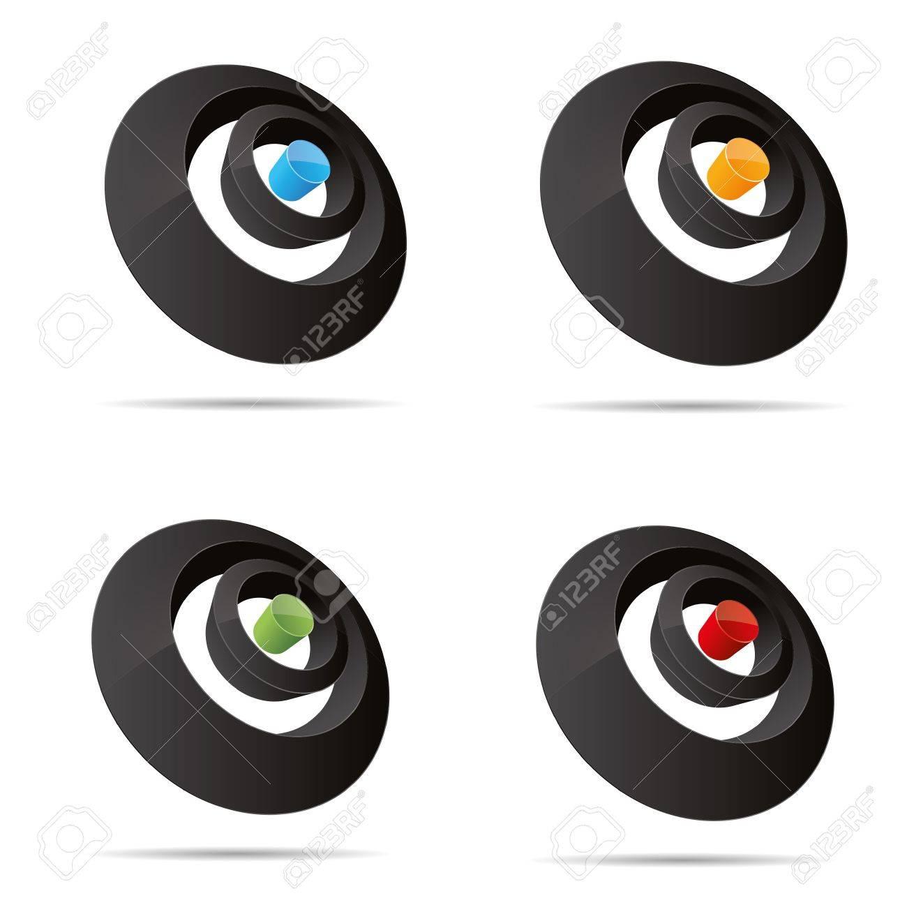 3D abstract set circular round rings point pin symbol corporate design icon logo trademark Stock Vector - 15531408