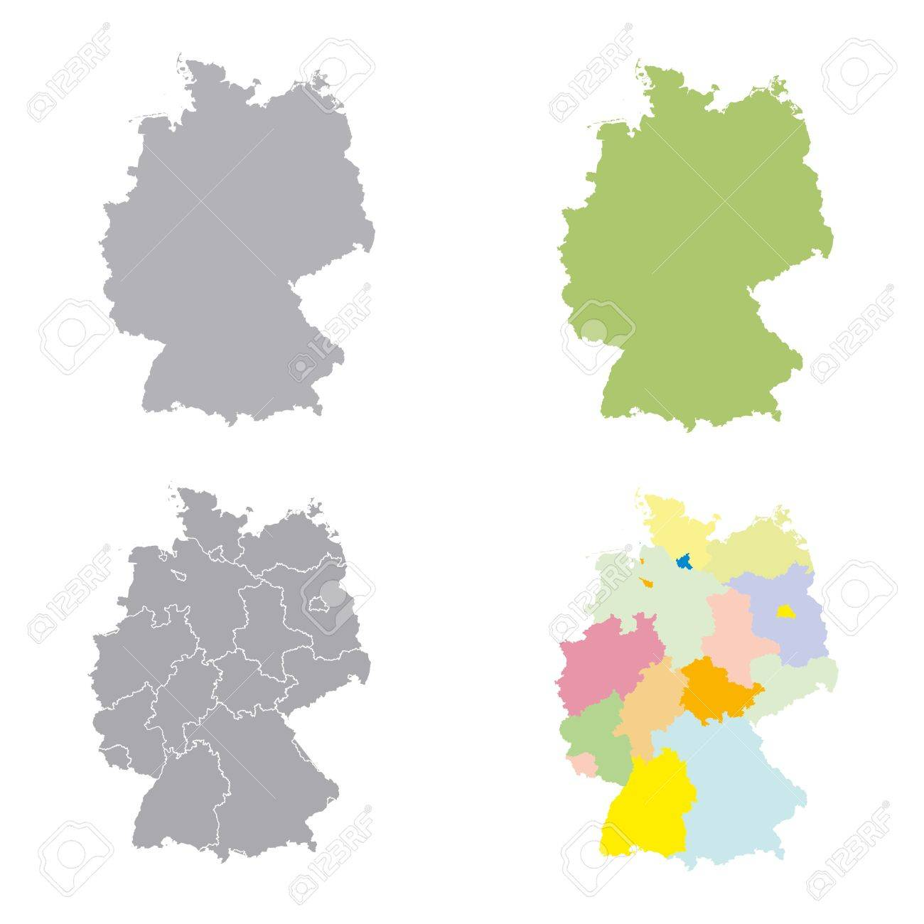 set germany regions card map vector geo map brd federal republic of germany black red and