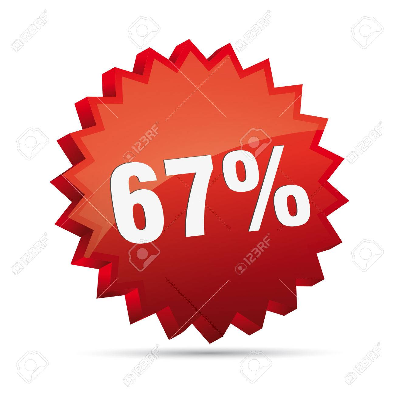 372bda543975 67 sixty-seven percent reduced 3D Discount advertising action button badge  bestseller shop sale Stock