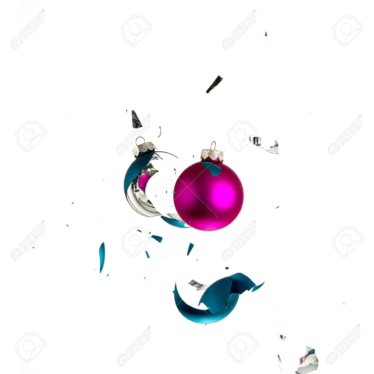Blue green christmas tree decorations - Stock Photo Christmas Ball Explosion Shattered Christmas Tree Blue Green Pink Ornament Decoration Impact