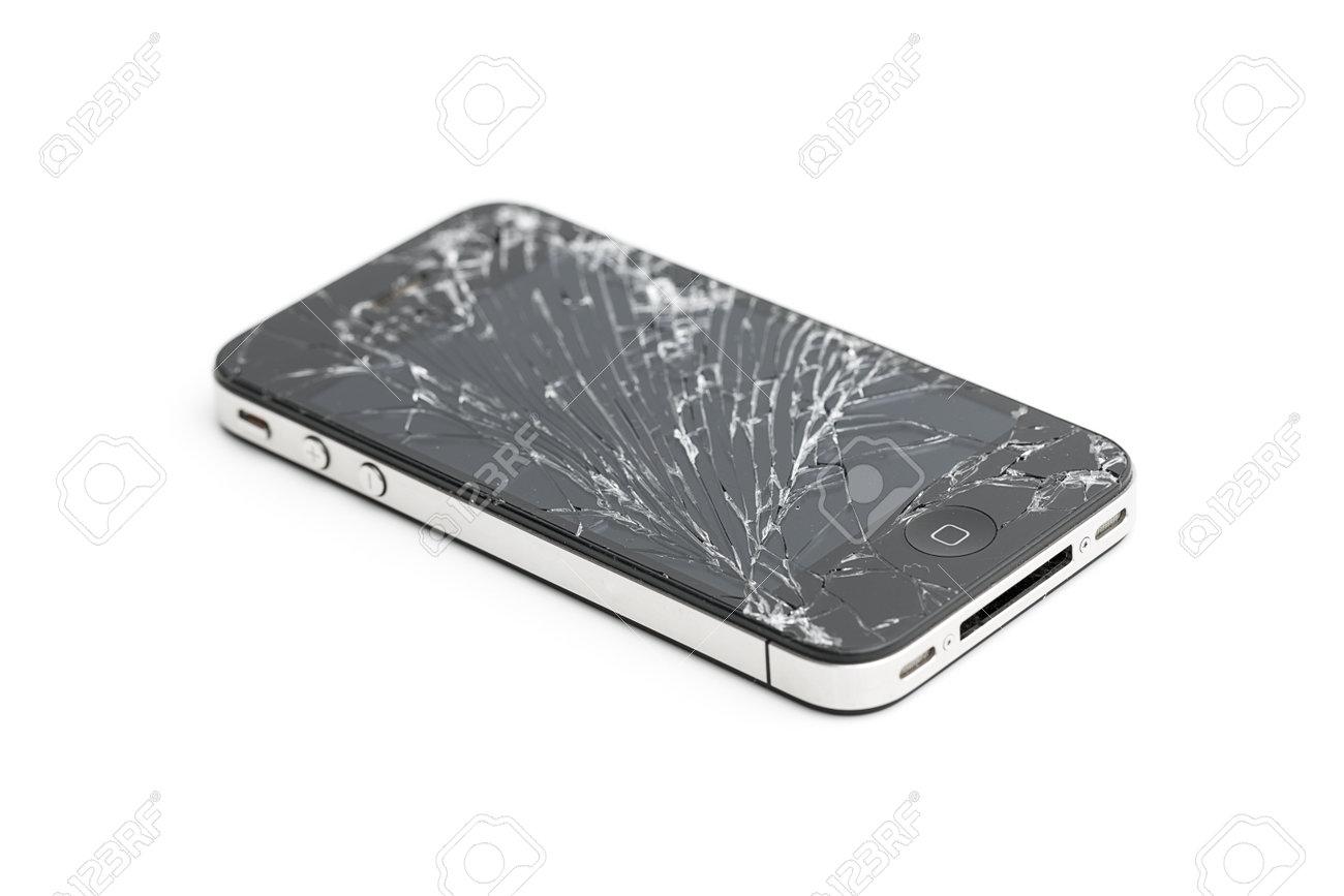 Iphone 4 4s glass break broken screen repair mobile phone display damage  insurance Stock Photo -