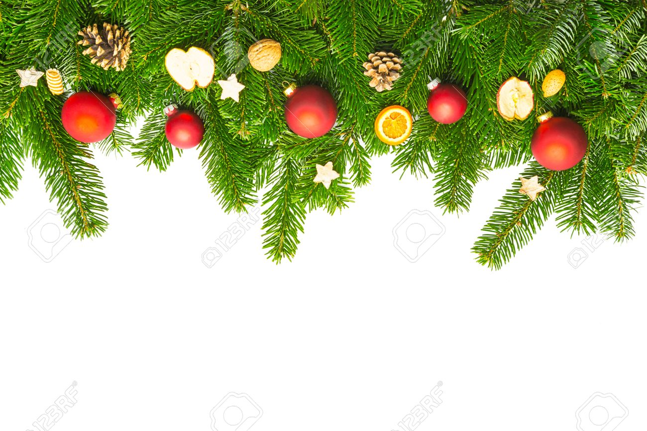 Line Of Fir Branches With Christmas Decorations Isolated On White ...