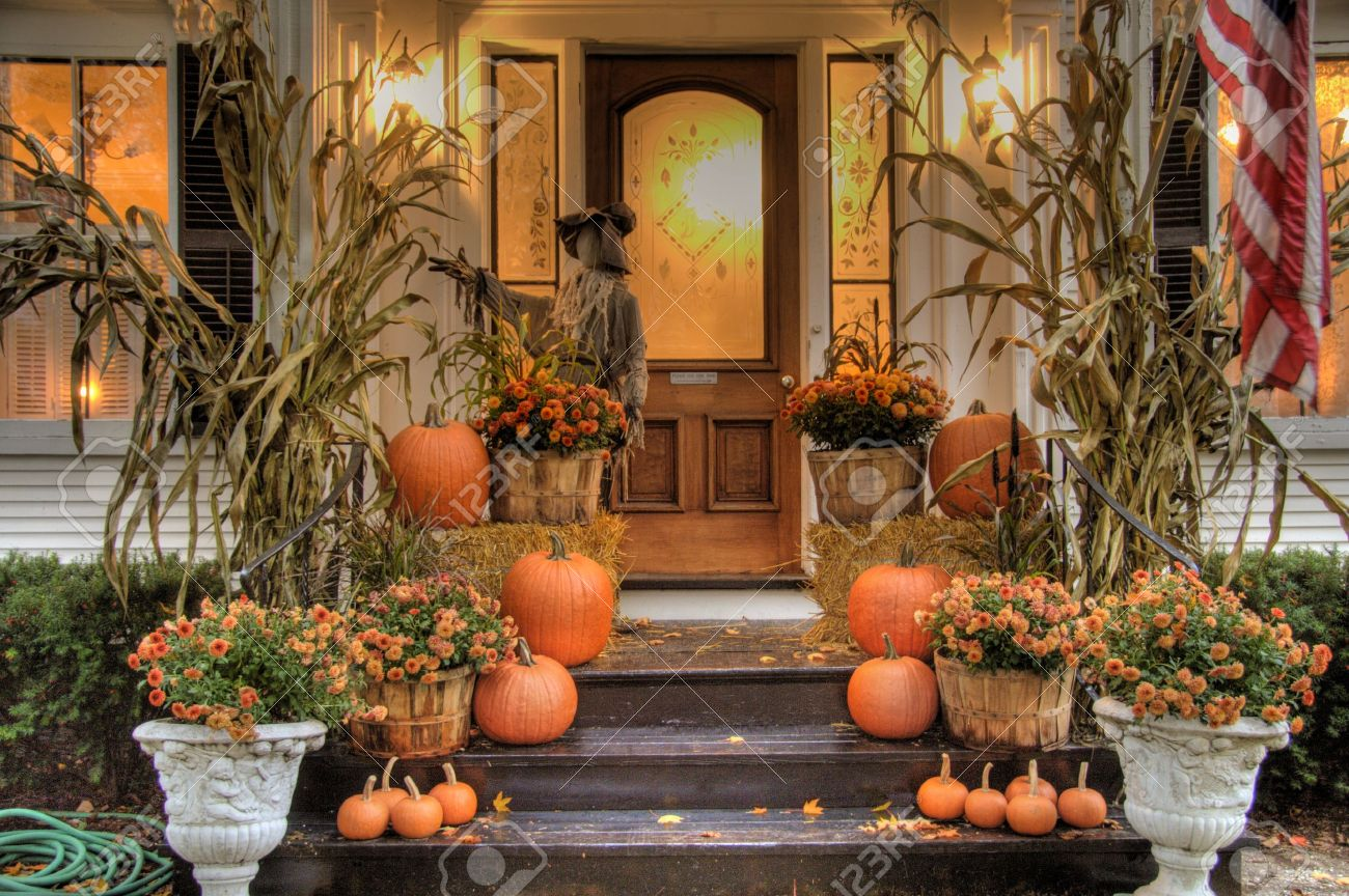 Porch Of A House Decorated For Halloween Stock Photo 4039681