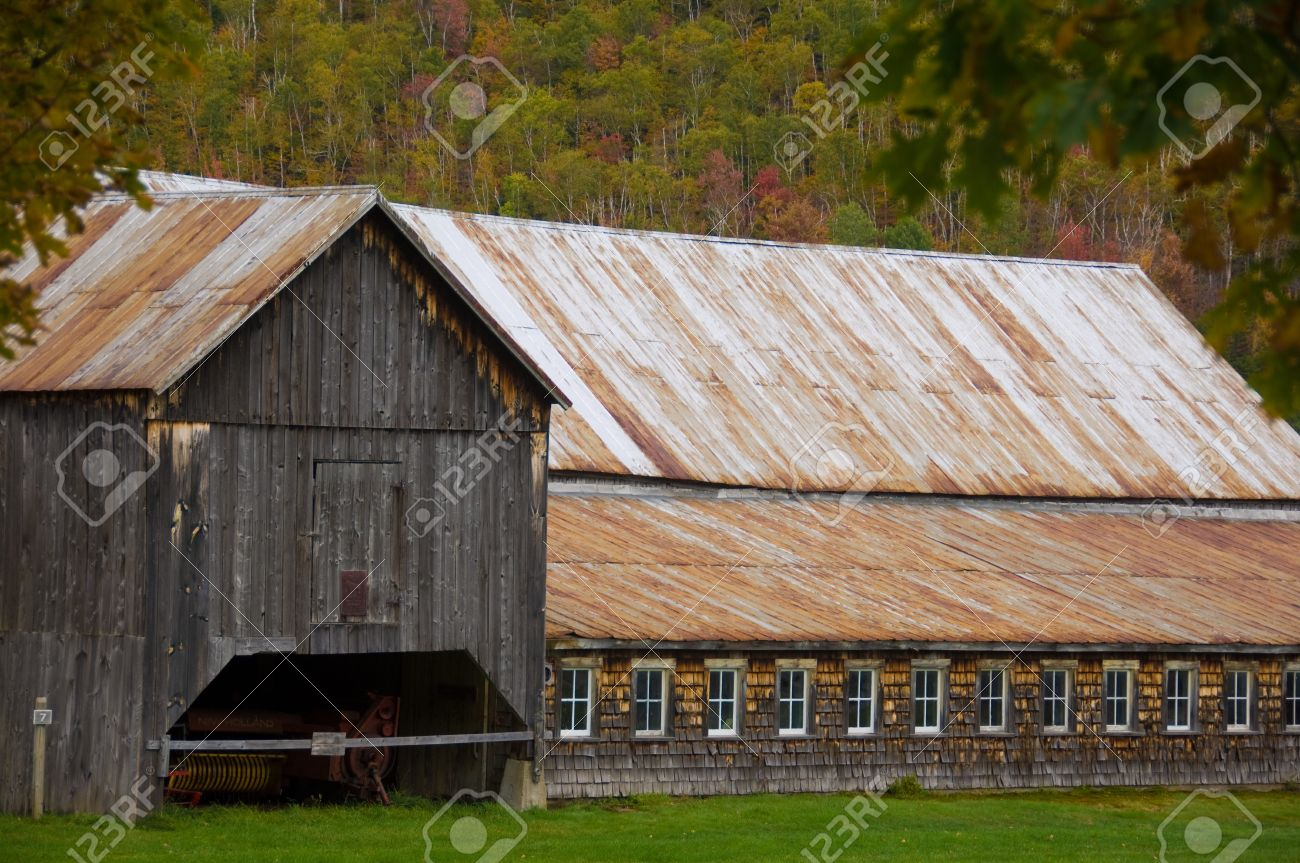 Old Barn With A Rusted Metal Roof Stock Photo   4058965