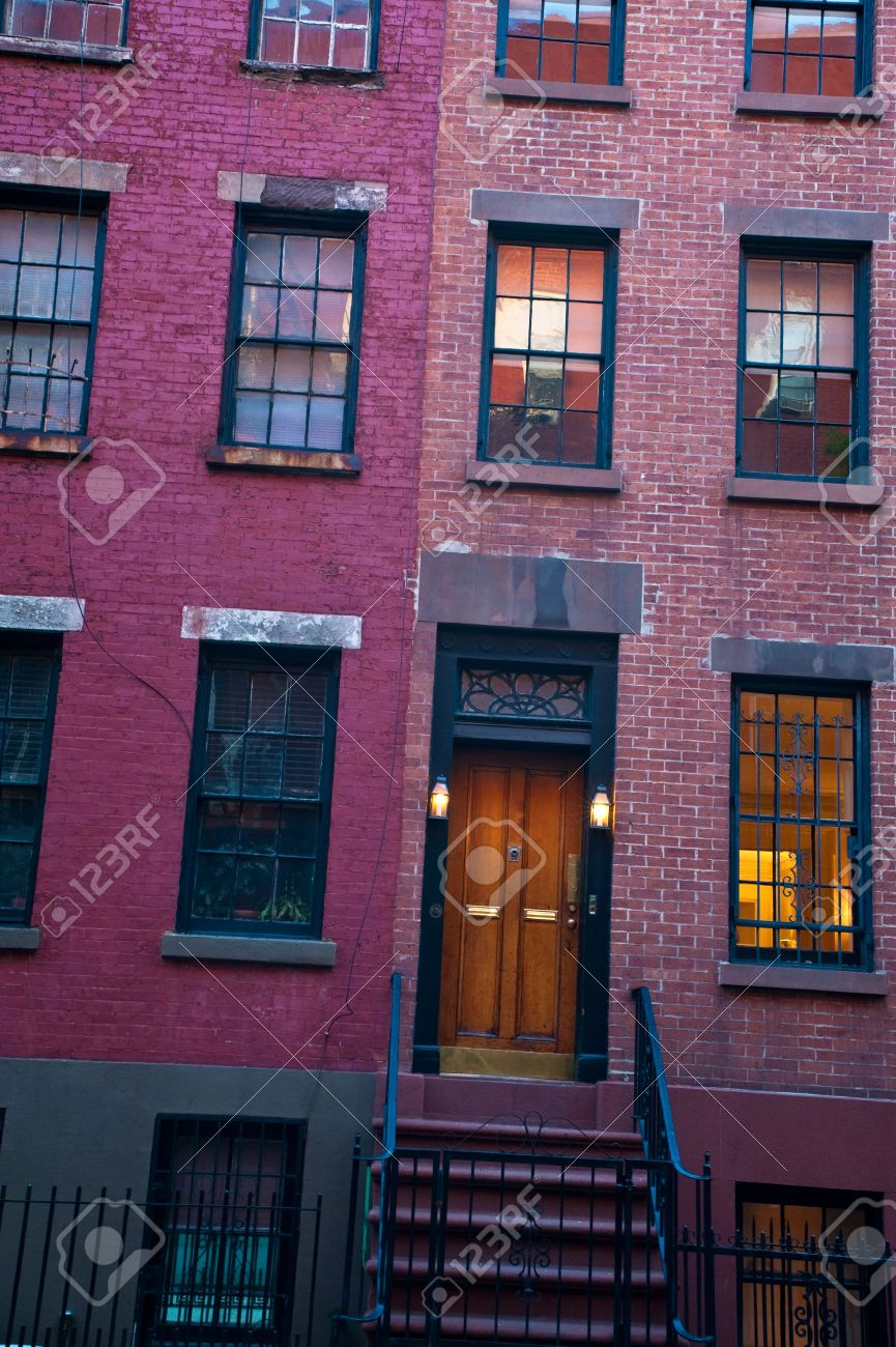 Old Brick Apartment Buildings In A Big City Stock Photo