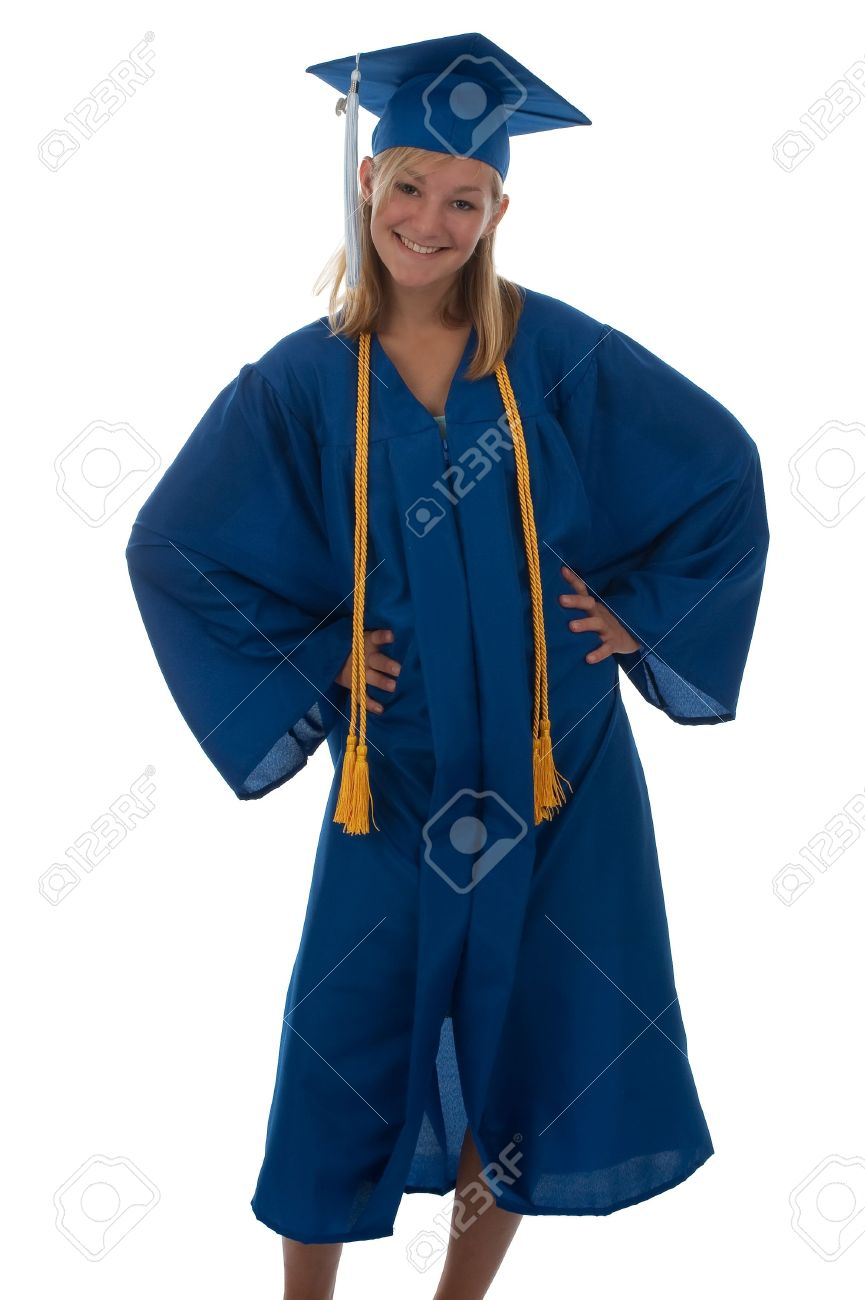 Teen Girl In A Blue Graduation Gown And Mortar Board Stock Photo ...