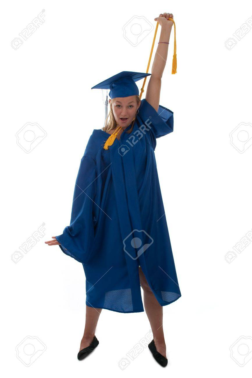 Teen Girl In A Graduation Gown Choking Herself With The Honor ...