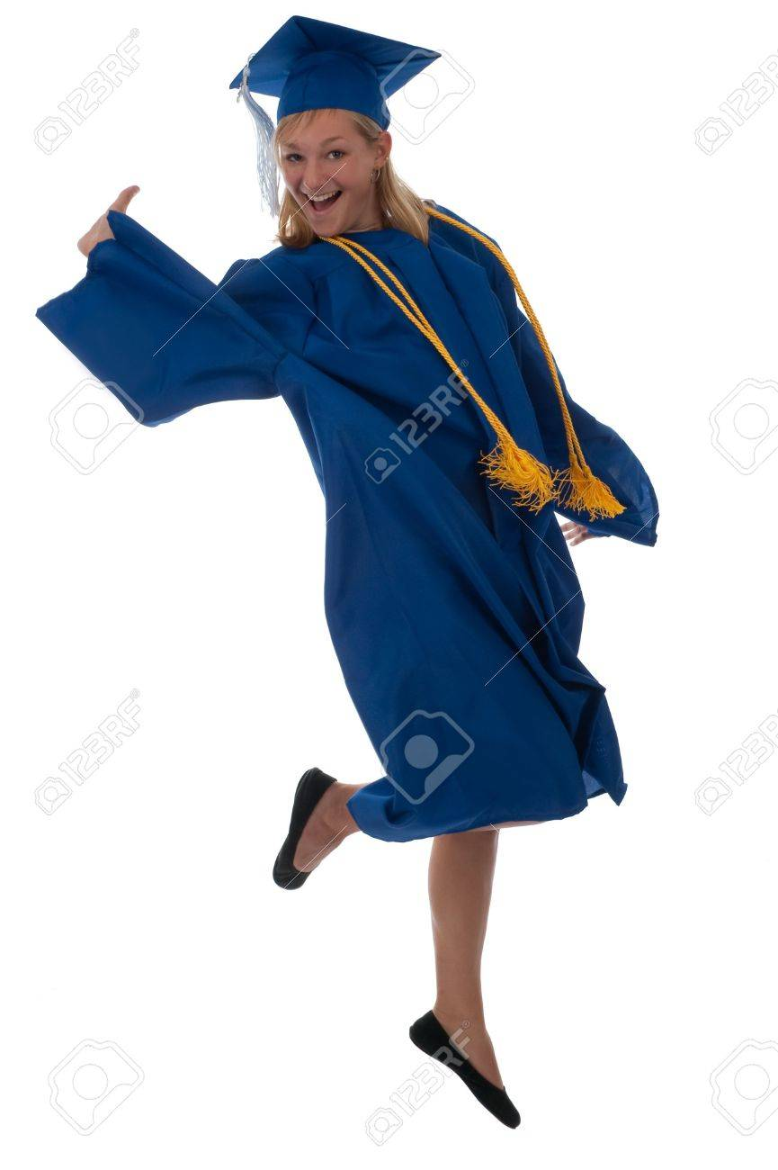 Teen Girl In A Graduation Gown Jumping For Joy Stock Photo, Picture ...