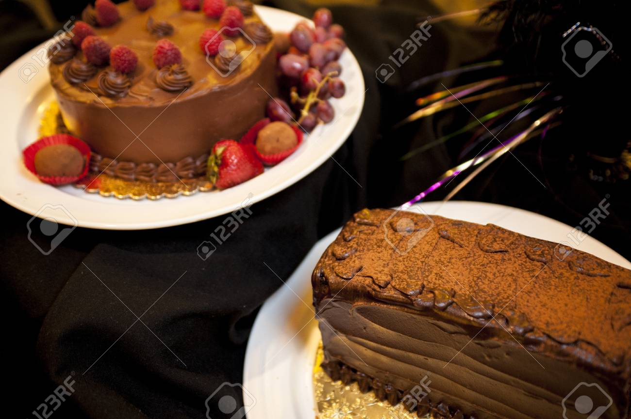 Beautiful Chocolate Cake On A White Plate Stock Photo Picture And