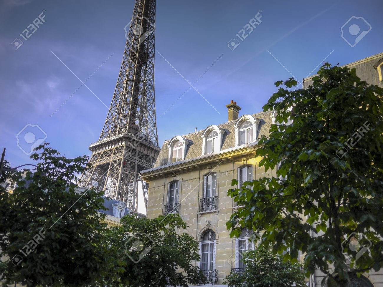 Dormers On An Apartment Buildings Near The Eiffel Tower, Paris, France  Stock Photo