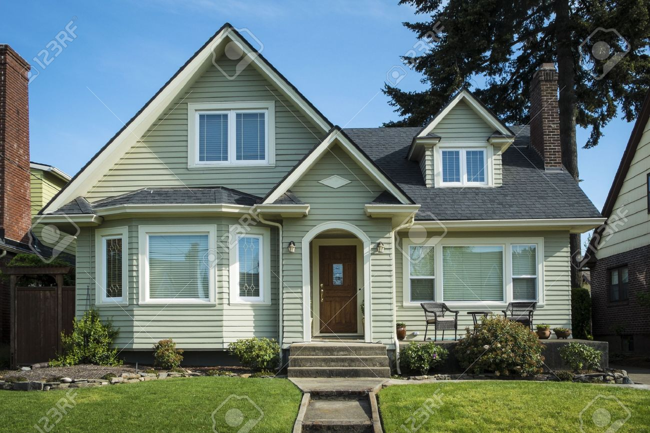 Single Family American Craftsman House With Blue Sky Background