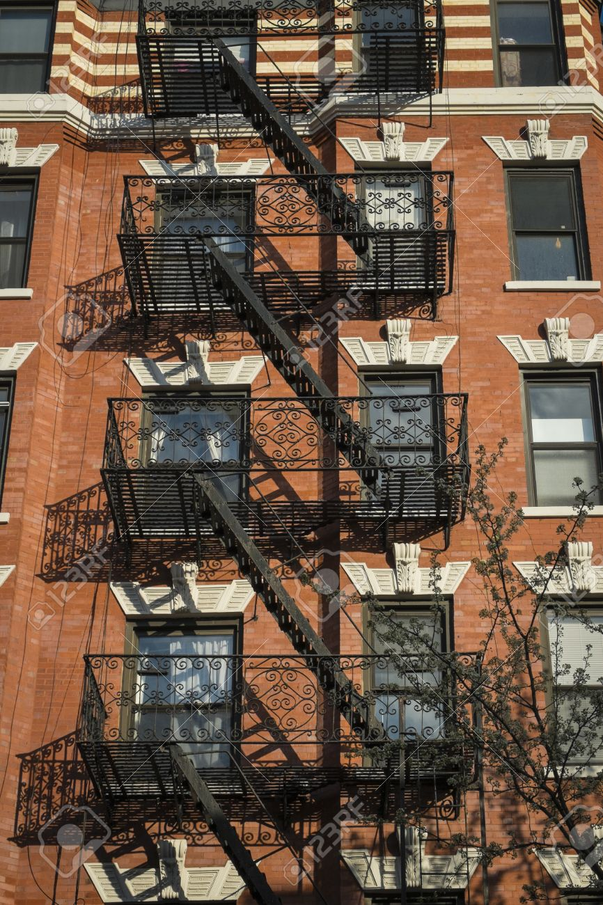 Classic Old Apartment Building With Fire Escape New York City Stock