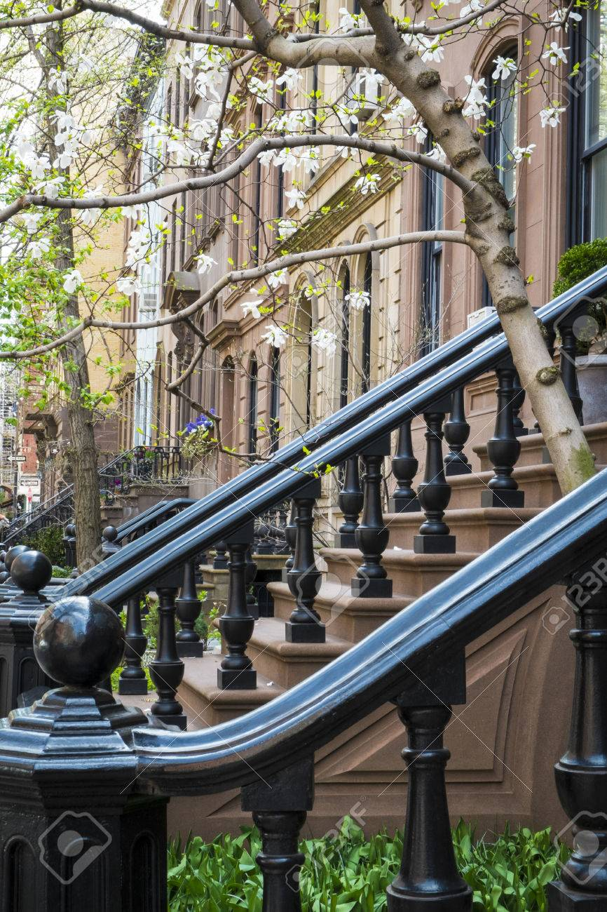 Black Cast Iron Stairway Railing In New York City Apartment Building Stock  Photo   56889438