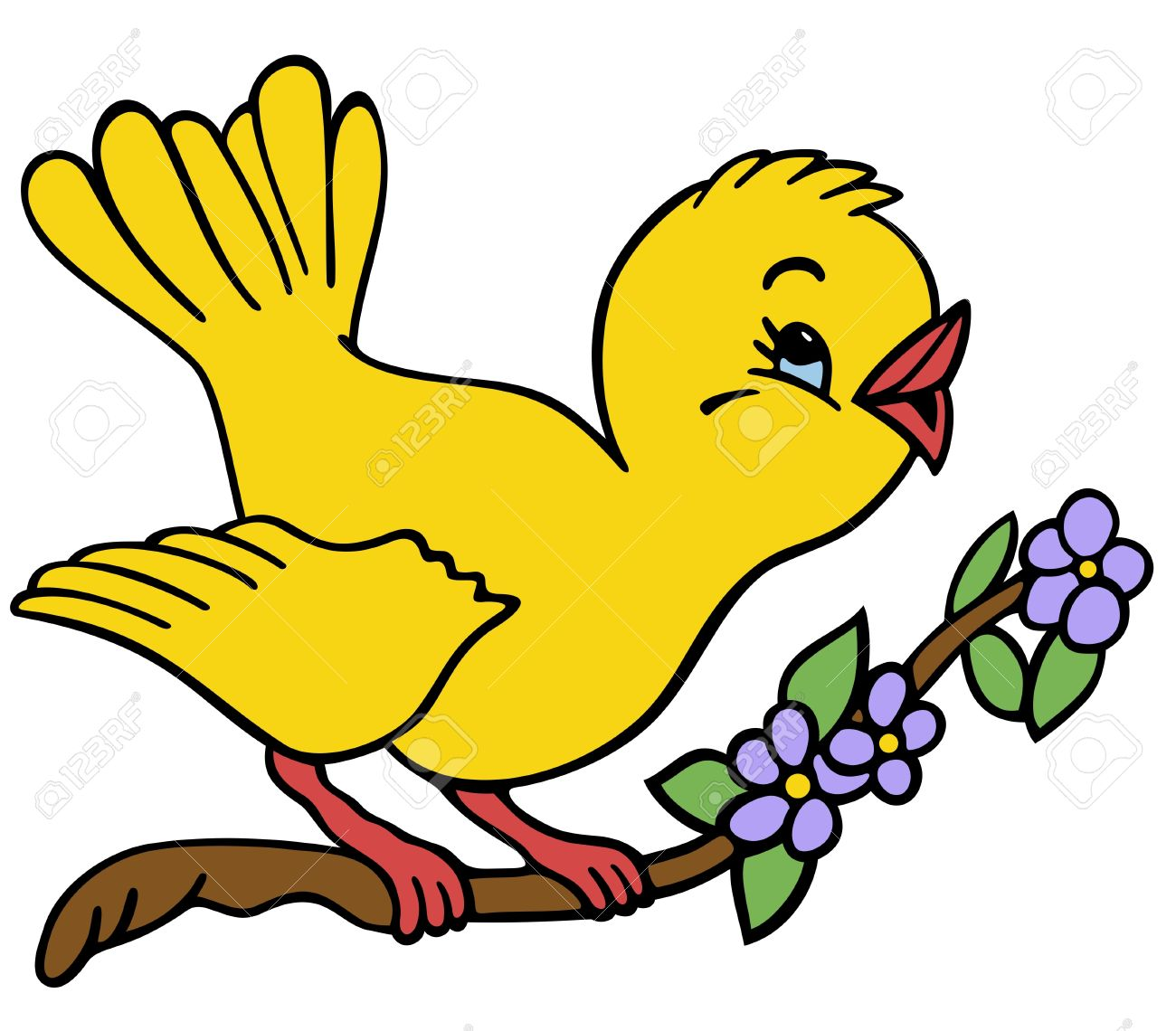 Bird On A Branch Royalty Free Cliparts Vectors And Stock Illustration Image 16918656