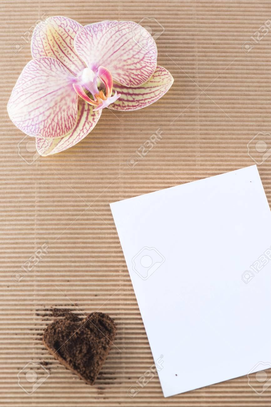 Decorazioni Lettere D Amore decorazione, orchidea e lettera di amore del caffè macinato su fondo di  legno