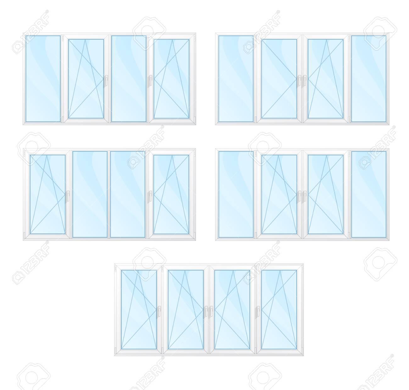 Moderne Glanzend Fenster Mit Weissen Rahmen Set Isoliert Vektor