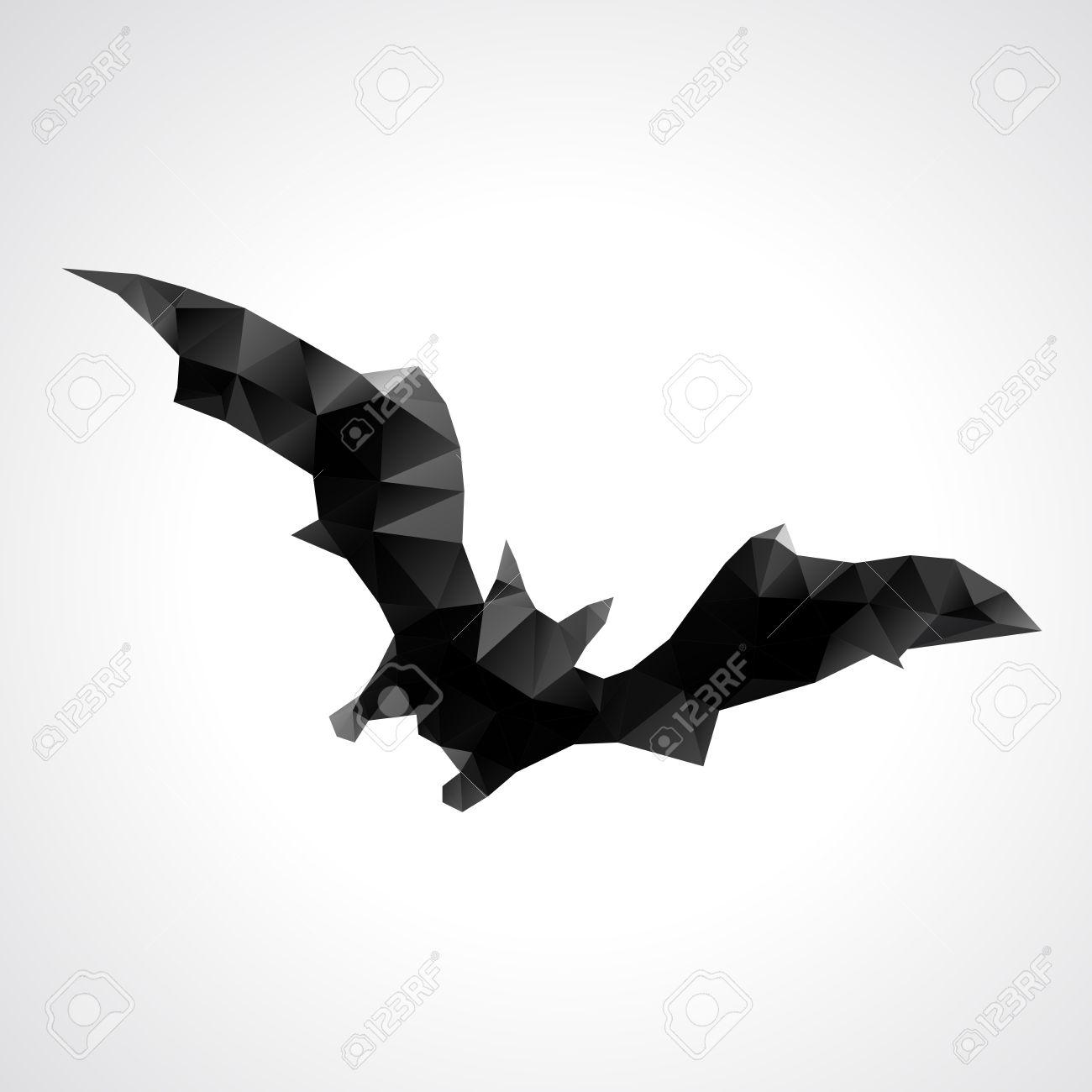 abstract geometric halloween bat vector illustration royalty