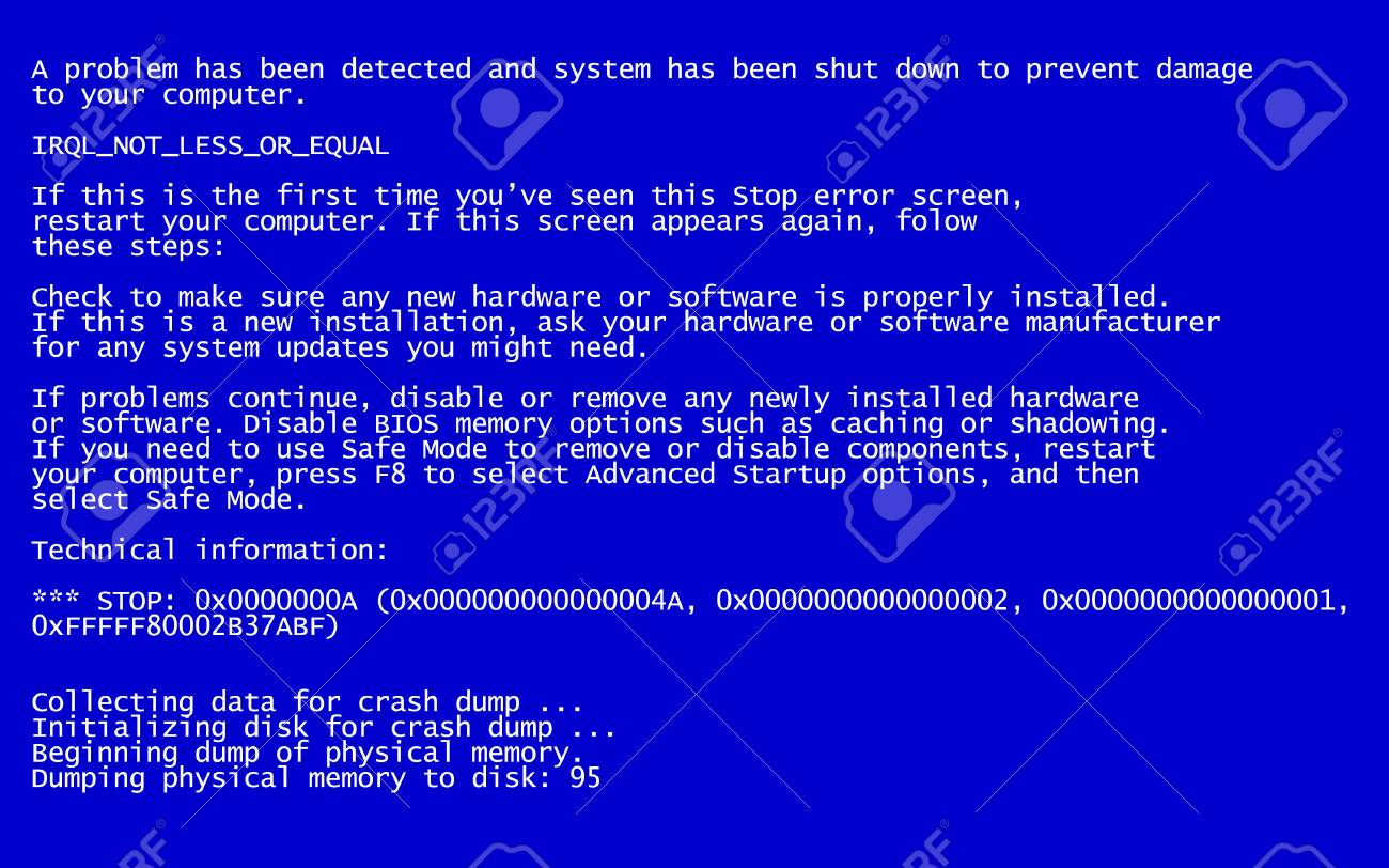 interrupt request level classic blue screen of death bsod error