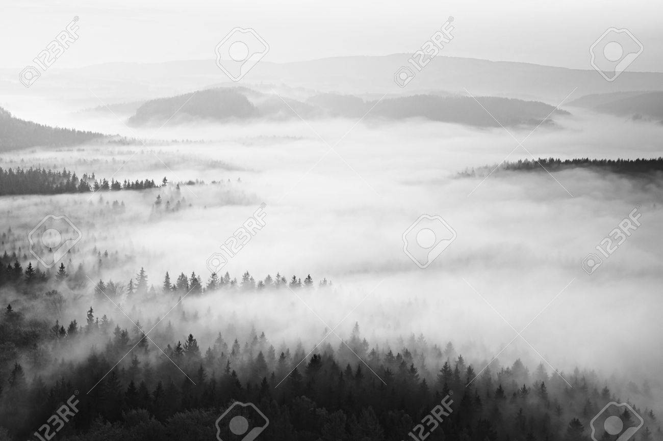 Autumn sunrise in a beautiful mountain within inversion. Peaks of hills increased from foggy background. - 47737461
