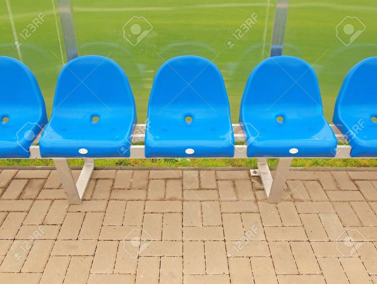 Neue Blaue Plastiksitze Outdoor Buhne Fussballspieler Bank Stuhle